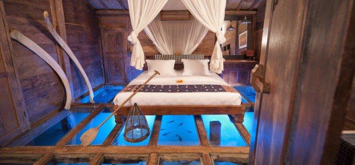 Glass-bottomed room at Bambu Inda Hotel