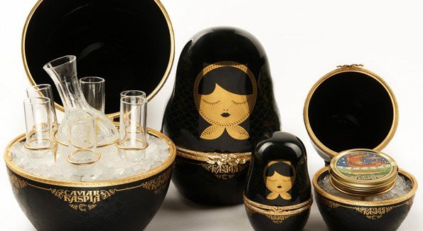 Kaspia caviar, French and Russian dolls house