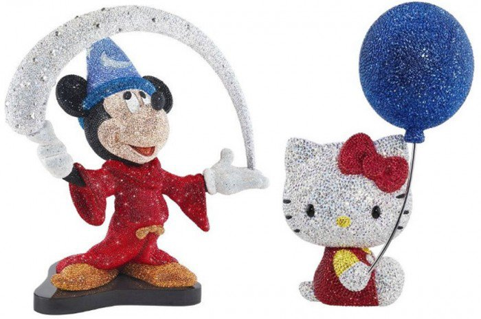 Swarovski crystals shimmer on Mickey Mouse and Hello Kitty