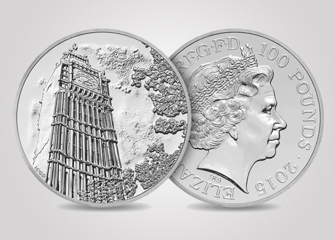 Special 100 GBP Silver Coin By Royal Mint