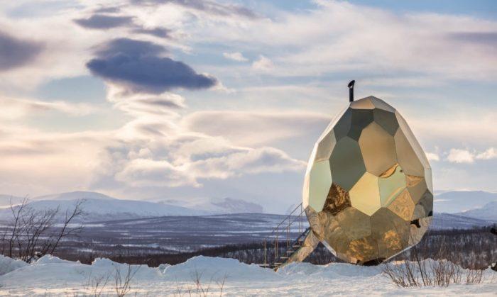 Solar Egg, giant golden egg sauna