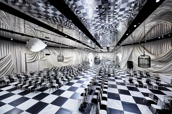 Bureau betak designs surrealist checkered pavilion for dior s ss